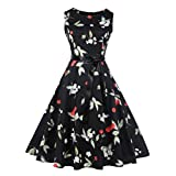 Women Dress Daoroka Sexy Ladies Vintage Plaid Sleeveless Bodycon Pleated A Line Swing Evening Party Prom Skirt With Belt Retro Casual High Waist Hepburn New Fashion Cute Sundress (XL, Black)