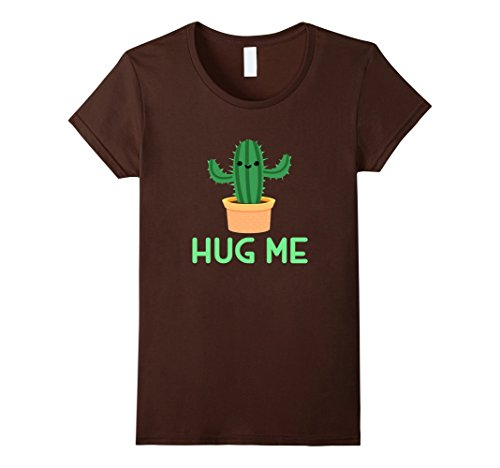 Women's HUG ME T-SHIRT Funny Cactus Humor Gift XL Brown (Cute Brother And Sister Costumes Halloween)