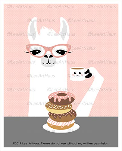 76J - Girl Llama Eating Stack of Donuts and Drinking Coffee UNFRAMED Wall Art Print by Lee ArtHaus (Chocolate Stripe Stack)