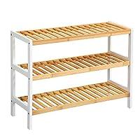 LANGRIA Shoe Rack Bamboo Wood Storage Shelf 3 Tier