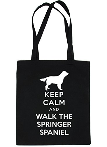 The Springer Walk and Black Tote Shopping Dog Calm Keep Print4u Bag Spaniel p0q8wY
