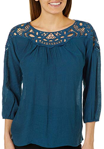 Zac & Rachel Petite Crochet Yoke Neck Top Large Petite for sale  Delivered anywhere in USA