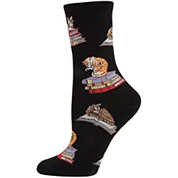 Socksmith Cats on Books Socks (Black)