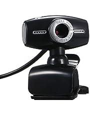 كاميرا الويب من Decdeal لكاميرا USB 2.0 ذات مشبك للحاسوب المحمول والكمبيوتر المحمول والكمبيوتر الشخصي كاميرا ويب سوداء مع ميكروفون مدمج
