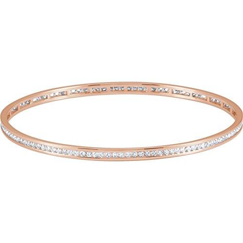 14k Rose Gold 2 1/4 CTW Diamond Stackable Eternity Bangle Bracelet