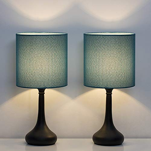 HAITRAL Bedside Table Lamps - Nightstand Lamps Set of 2, Modern Desk Lamp for Bedroom, Living Room, Office with Metallic Base and Fabric Shade - Dark Blue (HT-BTL11-06X2)