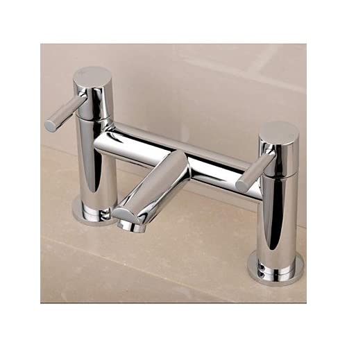 Contemporary English-Style Double Holes Double Handle Chrome Finish Brass Bathtub Faucet high-quality