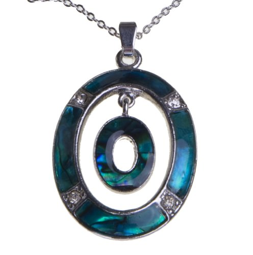 Paua Shell Pendant (Crystal Blue Green Abalone Paua Shell Oval Silver Fashion Mood Necklace Best Jewelry Gift for Women Girls)