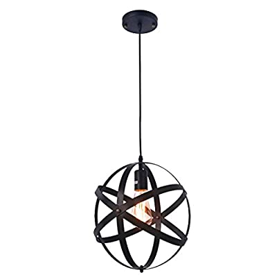 Pauwer Industrial Spherical Pendant Light Vintage Sphere Chandelier Lighting Glob Hanging Light Fixtures (Black B)