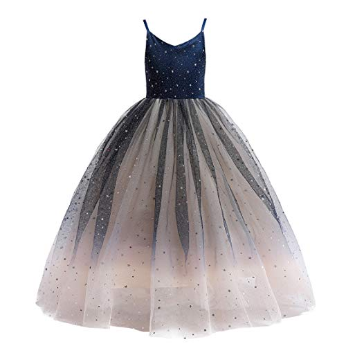 Glamulice Princess Sparkle Tulle Dress Girls Lace Bridesmaid Dresses Birthday Party Dance Gown Age 3-16Y (13-14Y, V-Navy Blue/Champagne & Sparkly Tulle) -