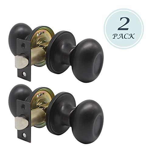 Antique Oval Shape Passage Door Knob, Solid Steel Doorknob, Interior Door Handle for Storeroom Bedroom Bathroom with Oil Rubbed Bronze Finish, 2 Pack