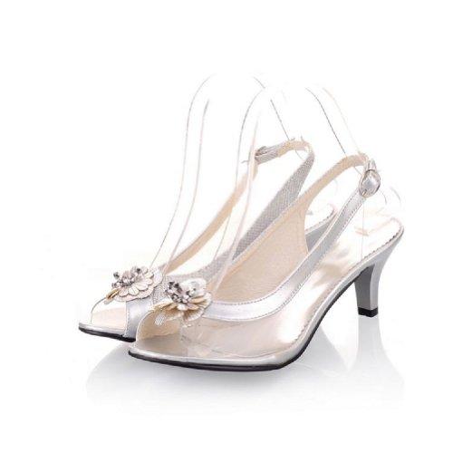 Carol Scarpe Moda Donna Trasparente Tacco Medio Sandali Peep Toe Argenteo