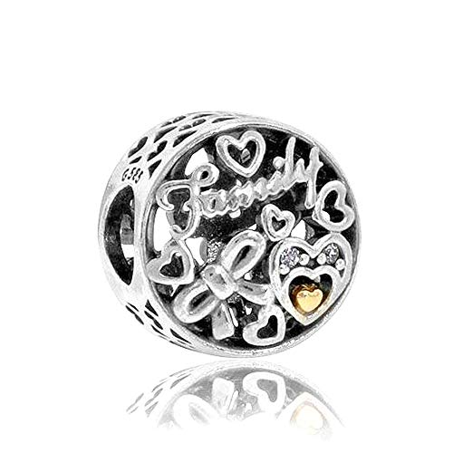 Romántico Amor terling Silver Family Forever Heart Charm 925 Sterling Silver fit Pandora Charm ()