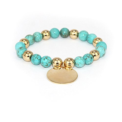 POMINA 8mm Semi Precious Natural Stone Beaded with Disc Coin Charm Stretch Bracelets (Turquoise_)