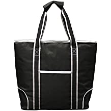 """Earthwise Insulated Grocery Bag Shopping Cooler Tote BLACK with Silver & White Trim LARGE CAPACITY w/ ZIPPER CLOSURE and FRONT POCKET Thermal Cooler for Hot or Cold Food """"18.5 W x 13.5 H x 5.5"""" D"""