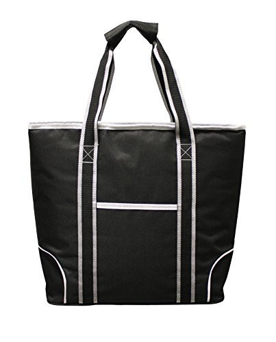 Earthwise Insulated Grocery Bag Shopping Cooler Tote BLACK with Silver & White Trim LARGE CAPACITY w/ZIPPER CLOSURE and FRONT POCKET Thermal Cooler for Hot or Cold Food
