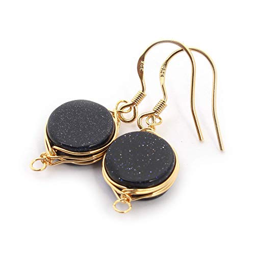 (Natural Stone Wire Wrap Dangle Drop Earrings Gold Plated 925 Sterling Silver Hook/Blue Goldstone Round 10mm)