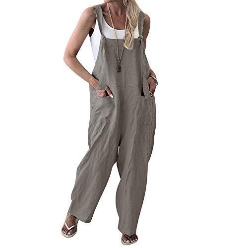- Unifizz Women's Casual Jumpsuits Overalls Baggy Bib Pants Plus Size Wide Leg Rompers Black Loose Overalls XL Grey