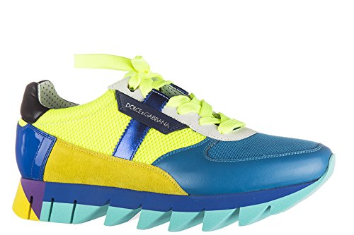 Dolce&Gabbana chaussures baskets sneakers homme en cuir blu