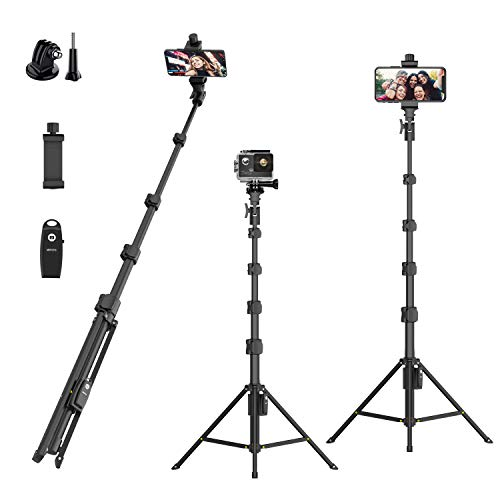 "Selfie Stick Tripod,54"" Extendable Camera Selfie Stick with Tripod Stand and Detachable Wireless Remote Shutter for iPhone 6 7 8 X Xs, Samsung Galaxy S9 Note8, Gopro,Android Phones,Digital Cameras"