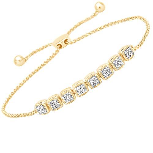 1/4 Ct Natural Diamond Square Bolo Bracelet Adjustable 9