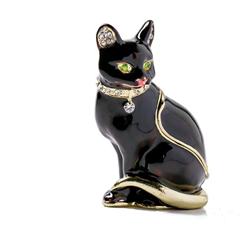 Gift Trinket Box (Vintage Style Jewelry Organizer Holder Black cat Trinket Small Box)