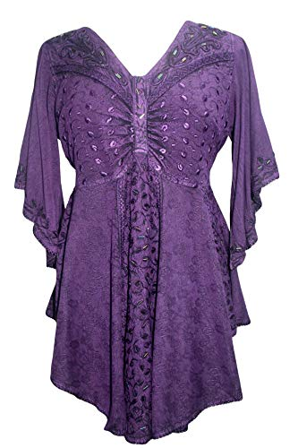 Agan Traders 186026 B Medieval Butterfly Embroidered Beaded Bell Sleeve Top Blouse Tunic (3X, Purple) ()
