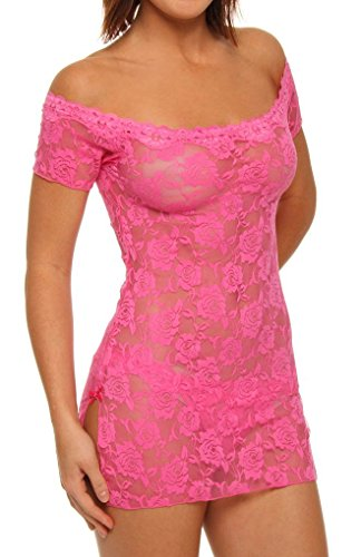 (Shirley of Hollywood Lace Chemise and Thong (Hot Pink;One Size))