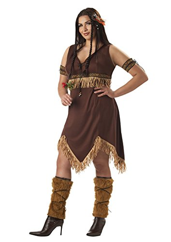 [California Costumes Women's Plus-Size Sexy Indian Princess Plus, Brown, 3X] (Plus Size Women Halloween Costume Ideas)