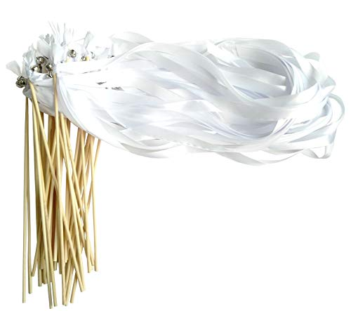 Kingsnow 30 Pack Ribbon Wands Silk Ribbon with Bells Fairy Stick Wish Wands Wedding Confetti Alternative for Wedding and Party
