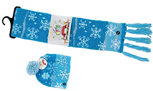 Christmas Hat and Scarf Light Up Set, Frosty Snowflakes Blue
