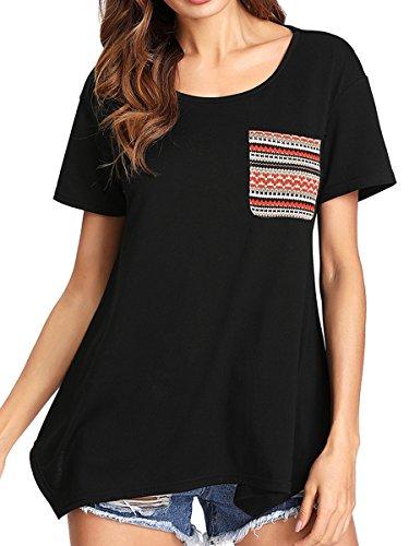 Romwe Women's Casual Short Sleeve Pocket Tee Shirt Loose Tunic Top Black XL