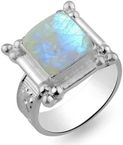 6.40ctw,Genuine Rainbow Moonstone 10x10mm Square & .925 Silver Overlay Handmade Rings Made By Sterling Silver Jewellery