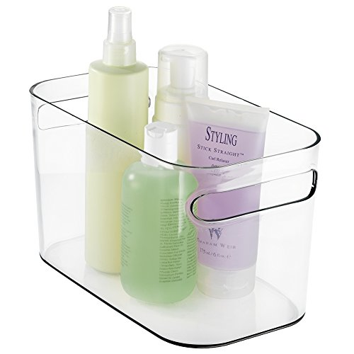mDesign Deep Plastic Bathroom Vanity Storage Bin with Handles - Organizer for Hand Soap, Body Wash, Shampoo, Lotion, Conditioner, Hand Towel, Hair Brush, Mouthwash - 10 Long - Clear