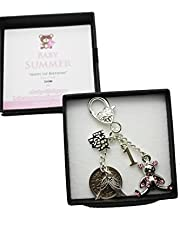 Baby 1st First Birthday Lucky Sixpence Keepsake Charm (Girl - Pink Teddy)
