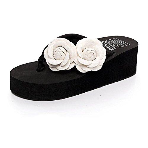 De Flor Alto Verano Pies Tacón MEIDUO De Las De Antideslizantes Señoras Pies Zapatillas Zapatos Chanclas La Con Zapatillas Del Playa De De Los De De Clip Los cómodo 1 Colores sandalias La 8 I7p11qwX