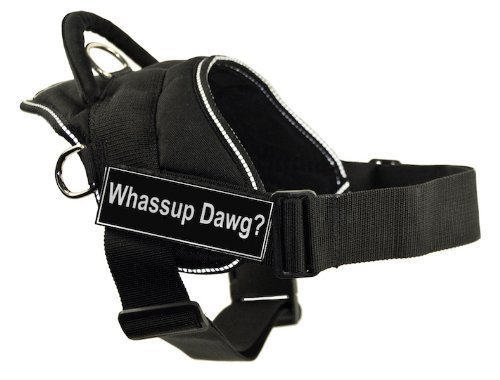 Dean & Tyler Fun Harness, Whassup Dawg, Black with Reflective Trim, XX-Small, Fits Girth Size  18-Inch to 22-Inch