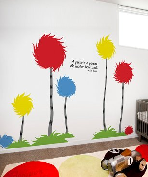 "Designer Playground Dr Seuss Inspired Trufulla Tree With Cotton Puff And A person's quote Vinyl Wall Decal (126""W X 81""H) K141 Red Yellow Blue by DESIGNER PLAYGROUND (Image #1)"