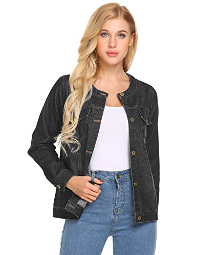 Concep Womens Oversized Loose Jean Coats Long Sleeve Boyfriend Denim Jacket Coat(Black L)