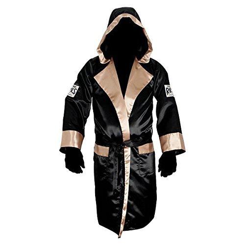 - Cleto Reyes Satin Boxing Robe with Hood - Medium - Black/Gold