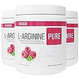 L-Arginine Pure ® | Best Tasting L-arginine Drink Mix Formula for Blood Pressure, Cholesterol, Heart Health, and More Energy (13.7 oz, 390g) (Raspberry, 3 Bottles)