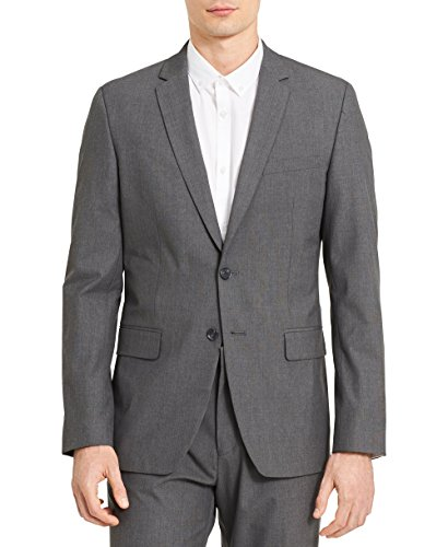 Calvin Klein Men's Slim Fit Button Notch End Bi-Stretch Infinite Jacket, Cinder Block, Large R
