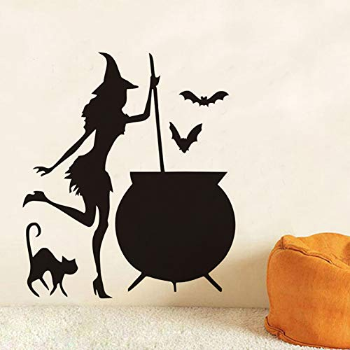 ALXCHD Cauldron Potion Bats Black Cat Vinyl DIY Wall Stickers for Living Room Art Wallpaper Home Halloween Decoration Accessories ()