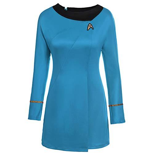 Obxguwn Star Trek Graphic Print Long Sleeve Solid O-Neck Mini T-Shirt Dress (Color : Blue, Size : S)]()