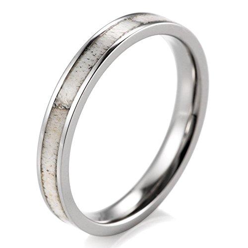 (SHARDON Women's 3mm Titanium Ring with Real Deer Antler Inlay Size 9)