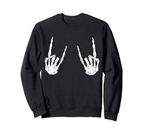Trendy Halloween Shirt Skeleton Rocker Graphic Costume  Sweatshirt