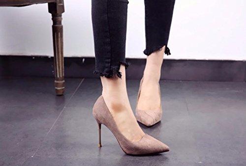 Fashion 37 Heels Pointed 10Cm Single Heel Elegant Sand Heels Shoes Head Lady Work Metal Fine Spring Women Shoes MDRW Leisure Suede Color aqOS661