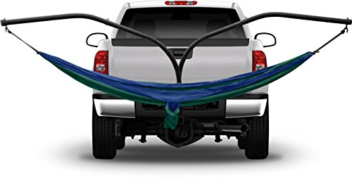 Hammaka Hammock Hitch Stand with 2 Cradle Chairs and Blue/Green Parachute Hammock (Blue)