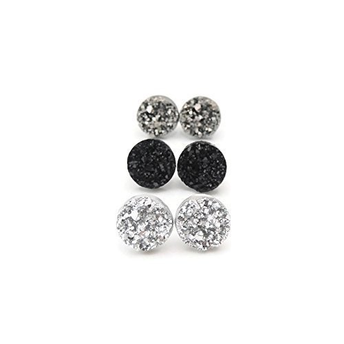 Silver-Tone, Gunmetal and Black, 12mm Faux Druzy Trio Plastic Post Earrings
