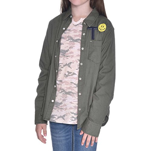 - Tractr Girls Two-Piece Layering Shirt Set (Green Patches/Pink Camo, Medium)